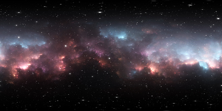 360 degree space background with nebula and stars, equirectangular projection, environment map. HDRI spherical panorama. 3d illustration 版權商用圖片
