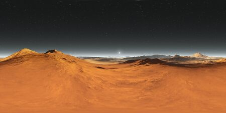 360 degree Martian landscape panorama, Mars sunset, environment HDRI map. Equirectangular spherical projection. 3d rendering