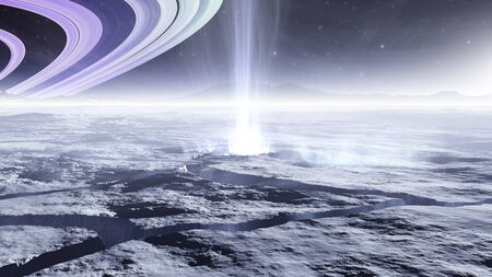 Enceladus, moon of the planet Saturn with water geysers, water vapor plumes, 3d illustration