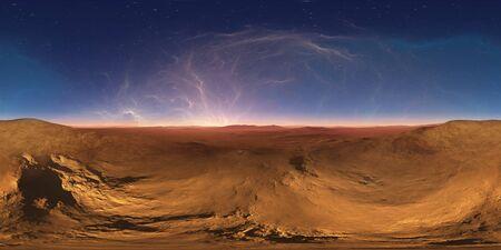 360 degree night alien desert landscape. Equirectangular projection, environment map, HDRI spherical panorama. 3d illustration