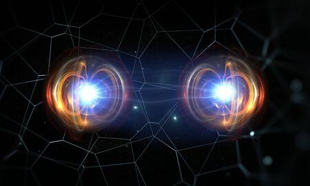 Partículas, entrelazamiento cuántico (correlación cuántica), mecánica cuántica. Ilustración 3d Foto de archivo