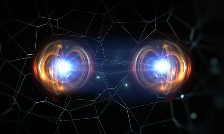 Particles, quantum entanglement (quantum correlation), quantum mechanics. 3d illustration