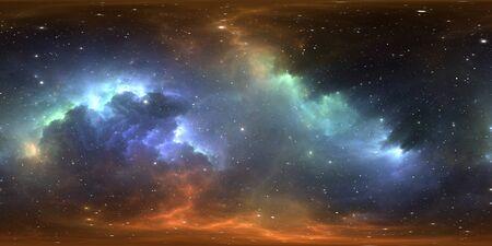 360 degree stellar system and gas nebula. Panorama, environment HDRI map. Equirectangular projection, spherical panorama. Virtual reality background. 3d illustration