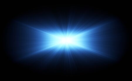 VFX Glow lighting effect star burst, flash energy ray. Creative design template, 3D illustration Stock Photo