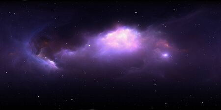 360 degree space background with nebula and stars, equirectangular projection, environment map. HDRI spherical panorama. 3d illustration Zdjęcie Seryjne