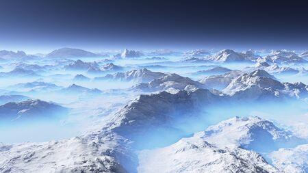 Frozen planet. Alien landscape, 3D rendering