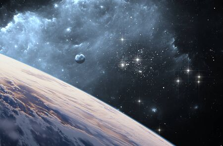 Extrasolar planet or Exoplanet from deep outer space. 3d illustration