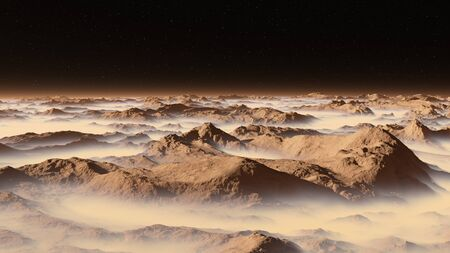Surface of exoplanet. Atmosphere contains of many heavy gases, 3D rendering