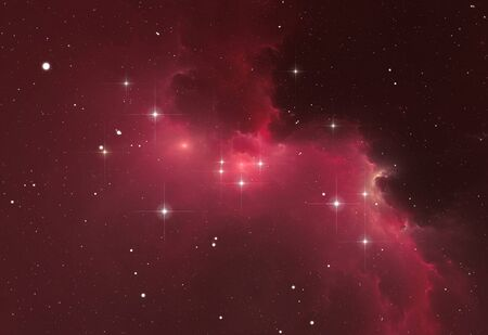Glowing huge nebula with young stars. Space background, 3d illustration Zdjęcie Seryjne