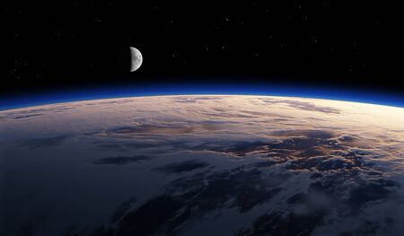 Earth with moon from space, sunset or sunrise. Astronomy background. 3d rendering