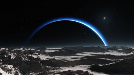 Dark side of Pluto, view from the moon Charon. 3d rendering