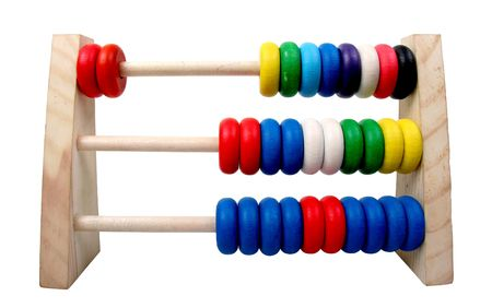 isolated toy coloures wooden abacus with three rows photo