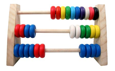 isolated toy coloures wooden abacus with three rows Stock Photo