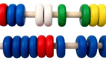 computations: isolated two row of toy coloures wooden abacus Stock Photo
