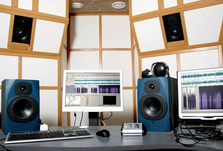 synthesizer: work place of audio engineer of professional audio studio