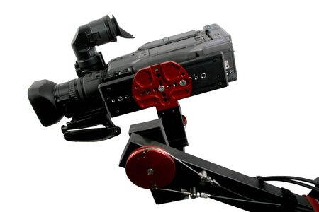 hight tech: the down view of isolated dv camcorder stand on cinema crane with handly remote control