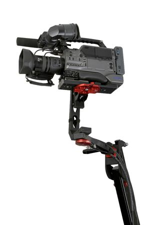 hight tech: isolated dv camcorder stand on cinema crane with handly remote control Stock Photo