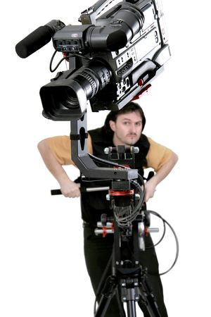 isolated operator work with dv camcorder stand on cinema crane with handly remote control photo