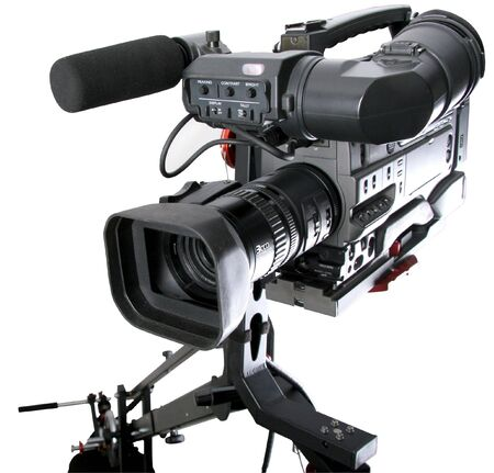 video cables: isolated image of dv-camcorder on the crane with handly motion control Stock Photo