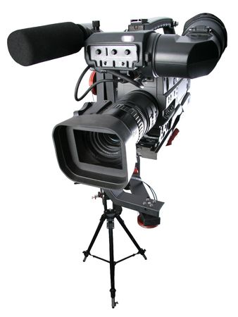 film making: isolated image of dv-camcorder on the crane with handly motion control Stock Photo