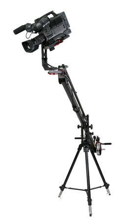 isolated image of dv-camcorder on the crane with handly motion control photo