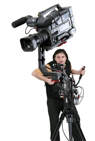 isolated image of operators work with dv-camcorder on the crane with handly motion control photo
