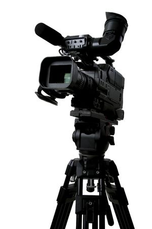 isolated stand black dv camcorder on black tripod