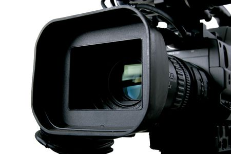 the lens part and control tumblers of black dv camcorder