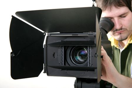 cameraman work with stand high-definition camcorder photo