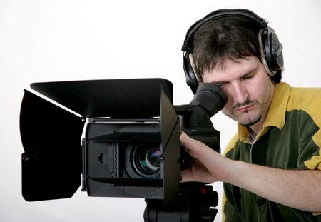 cameraman di lavoro con supporto ad alta definizione videocamera