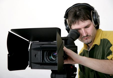 cameraman work with stand high-definition camcorder