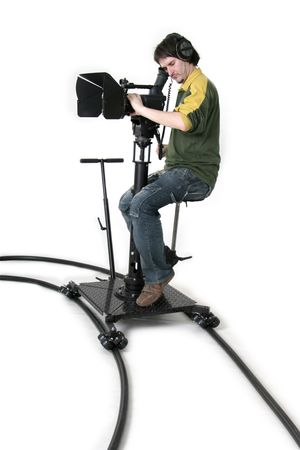 cameraman di lavoro ad alta definizione videocamera con il dolly Archivio Fotografico