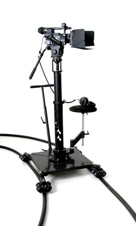 black stand high-definition camcorder on the dolly with white background photo