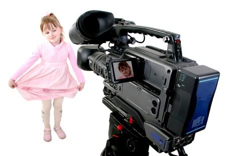 stand hd-camcorder shoot a little girl in pink dress