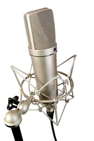 isolated chrome classical professional microphone with crab support photo