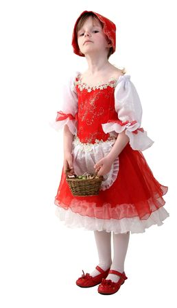 little girl in dress of red hood with small basket photo