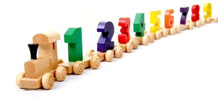 wooden educational toy train with numbers from nil to nine photo