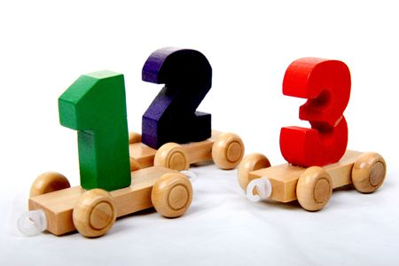wooden educational toy train with numbers from one to three photo