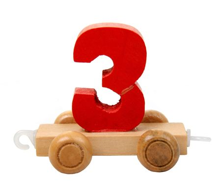 isolated educational wooden toy car with red number three