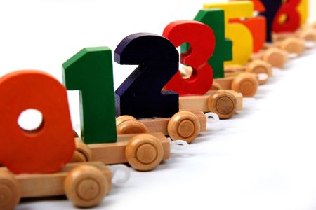 wooden educational toy train with numbers from nil to nine