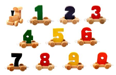 wooden figure: isolated educational wooden toy cars with numbers from nil to nine