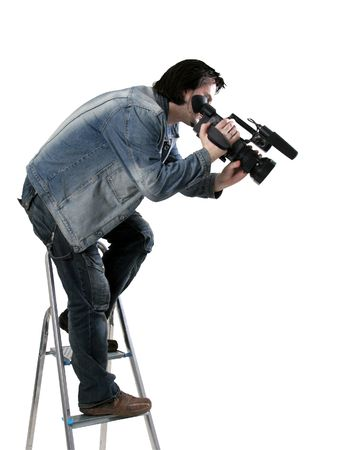 isolated cameraman work with dv handy camcorder from the step-ladder Stock Photo - 3303740