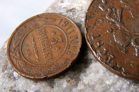 doubleheaded: two copper old russian coins with doubleheaded eagle