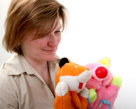 mother show puppet theater with handly toy fox and piggy Stock Photo - 3303779