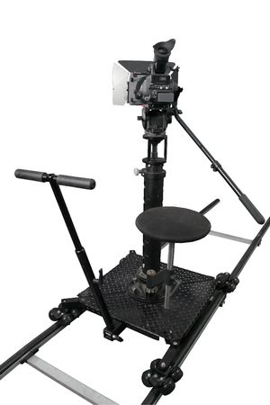 stand high definition camcorder on the dolly with gum tracks photo