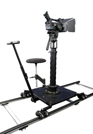 isolated stand high definition camcorder on the dolly photo
