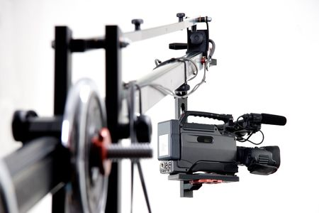 camcorder DV sulla mano operatore della gru Archivio Fotografico