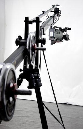 dv camcorder on the handly operator crane in studio