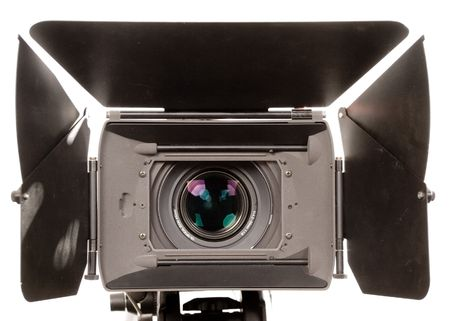 telecast: the front view of stand black hd-camcorder on white background