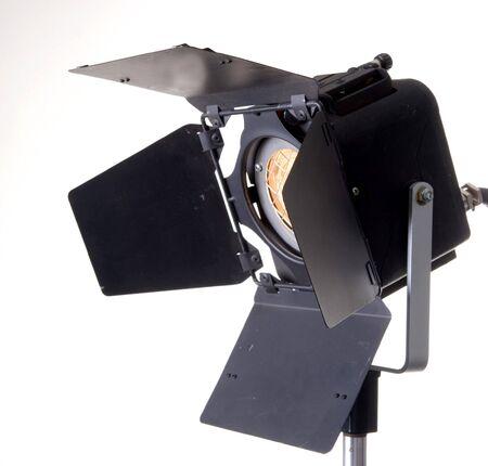 the black professinal spot light source on white background Stock Photo